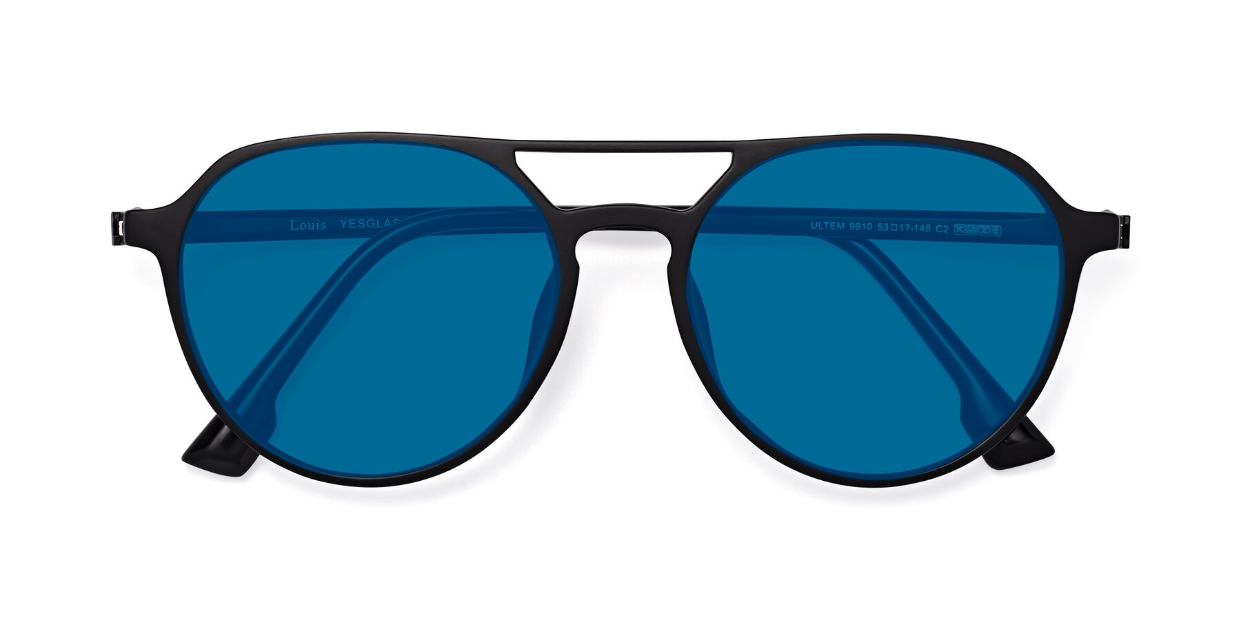 Folded Front of Louis in Matte Black with Blue Tinted Lenses