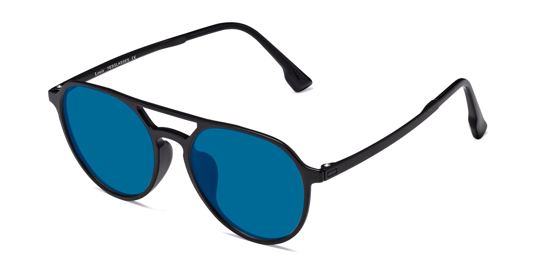 Angle of Louis in Matte Black with Blue Tinted Lenses
