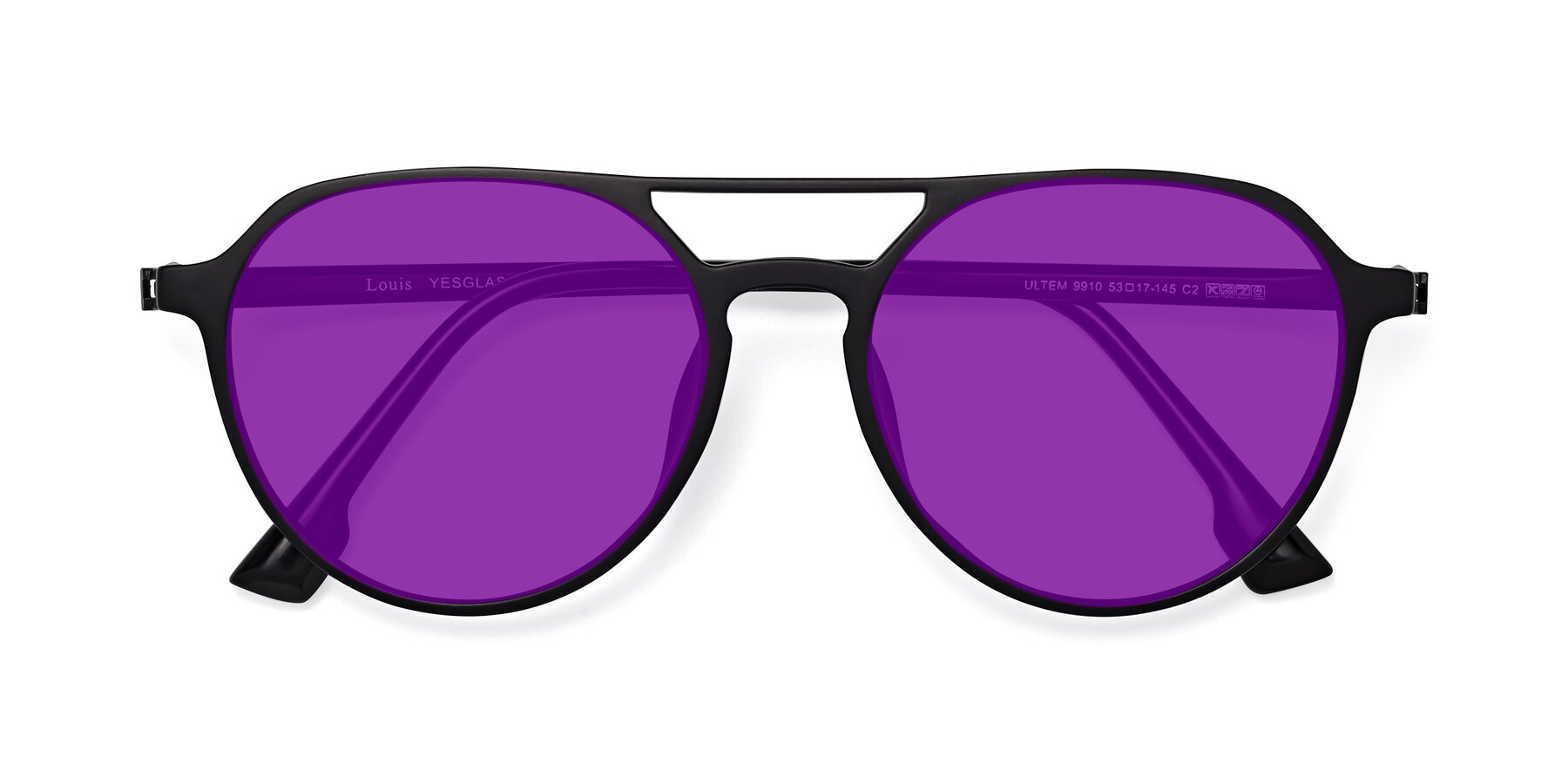 Folded Front of Louis in Matte Black with Purple Tinted Lenses