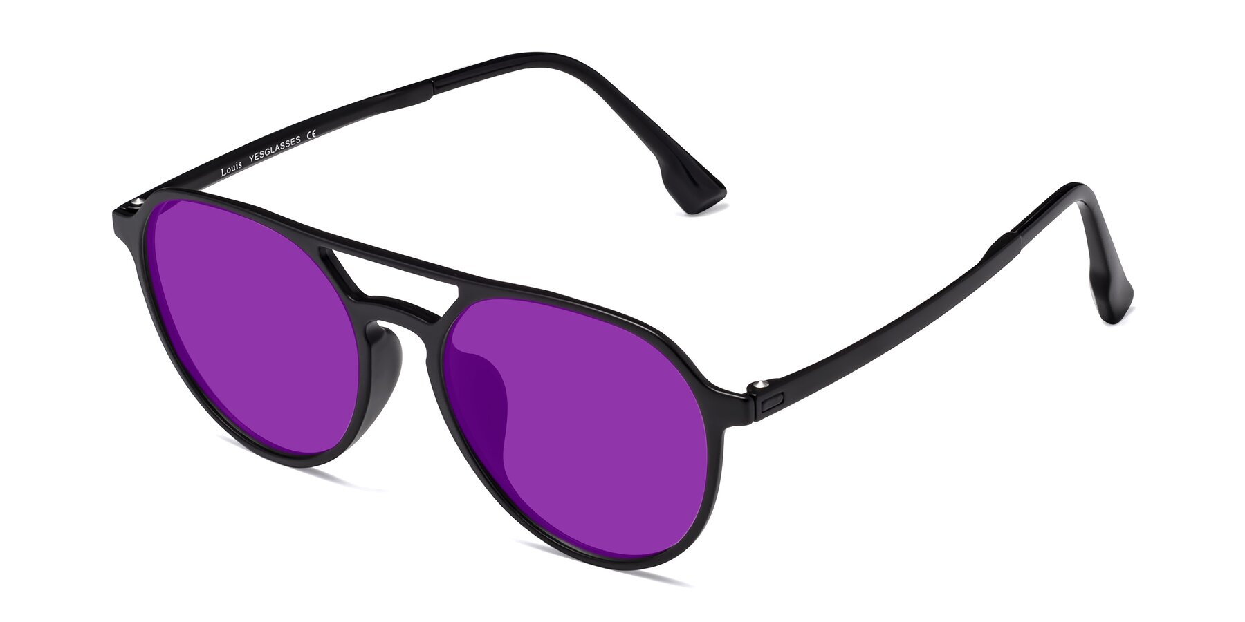 Angle of Louis in Matte Black with Purple Tinted Lenses