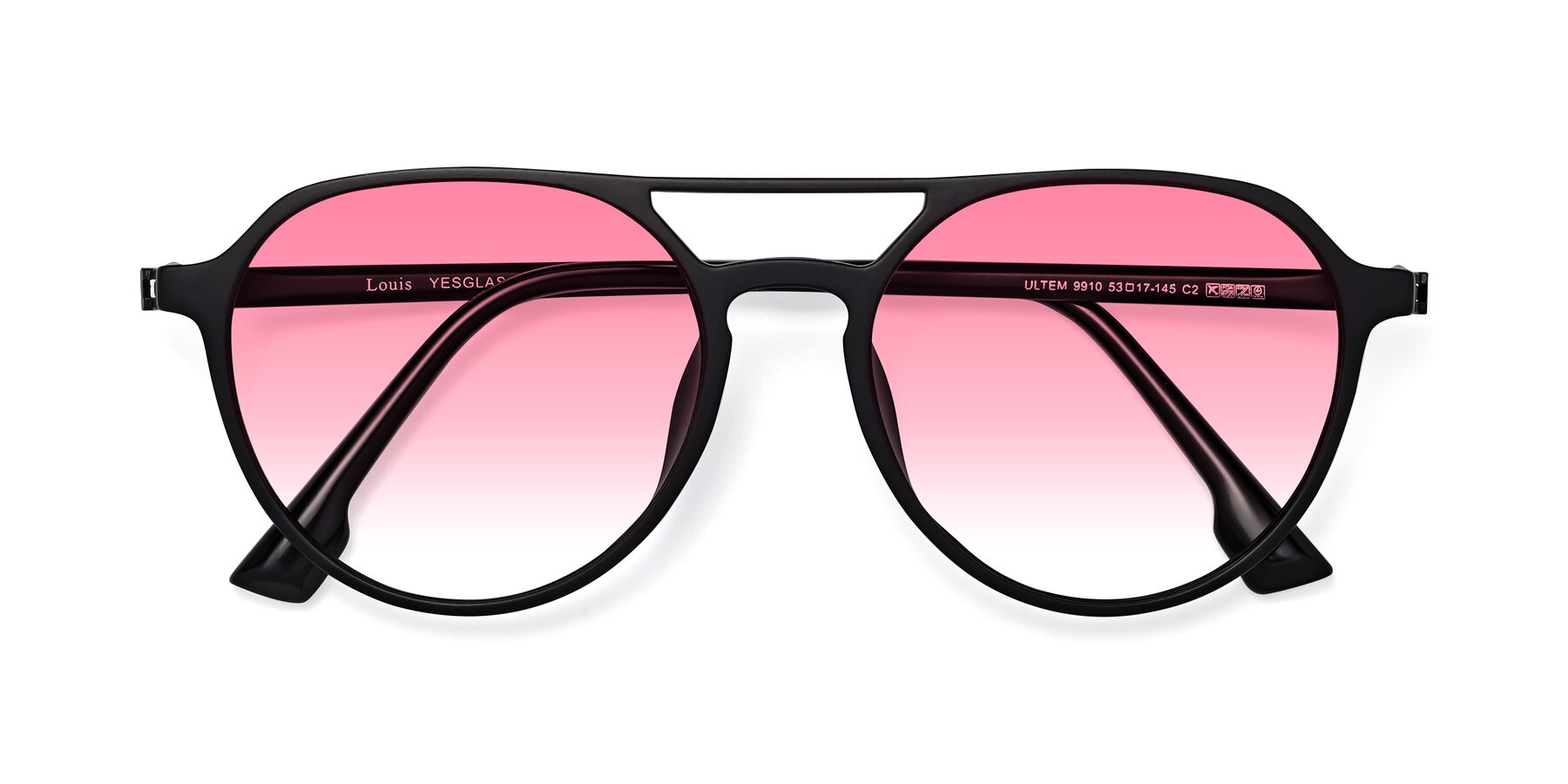Folded Front of Louis in Matte Black with Pink Gradient Lenses