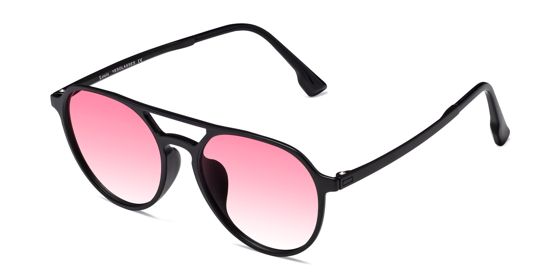 Angle of Louis in Matte Black with Pink Gradient Lenses