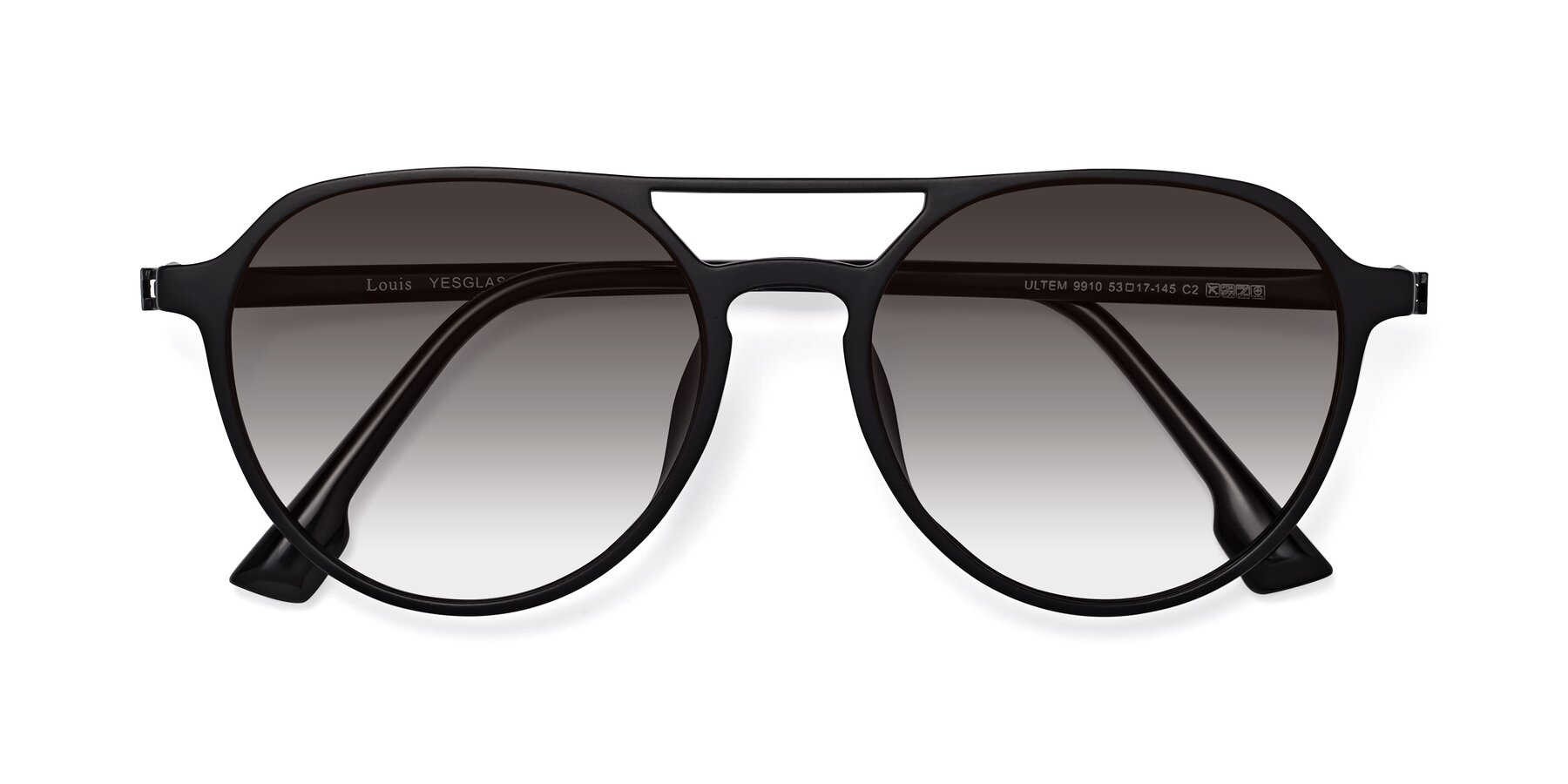 Folded Front of Louis in Matte Black with Gray Gradient Lenses