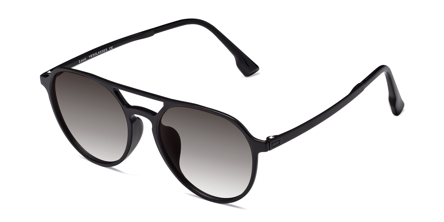 Angle of Louis in Matte Black with Gray Gradient Lenses