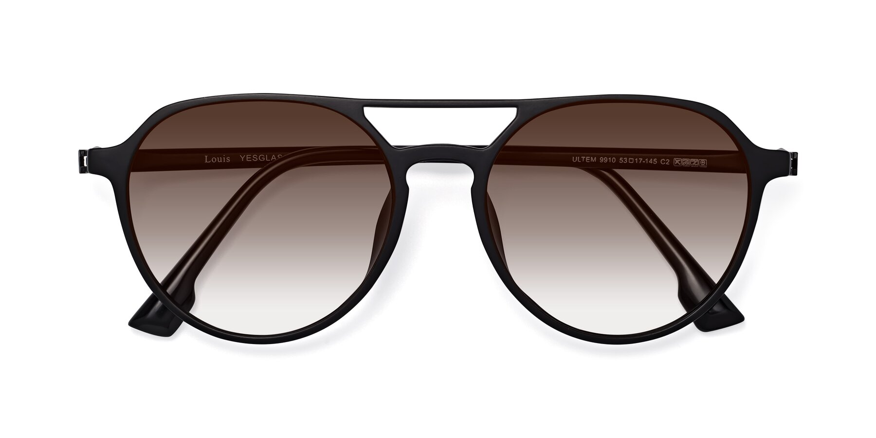 Folded Front of Louis in Matte Black with Brown Gradient Lenses