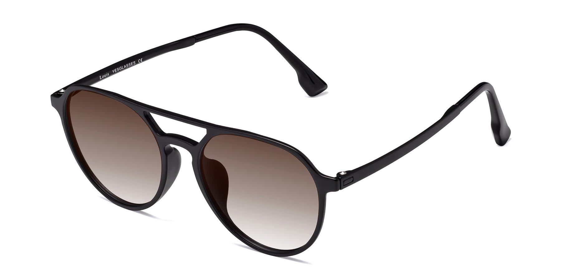 Angle of Louis in Matte Black with Brown Gradient Lenses