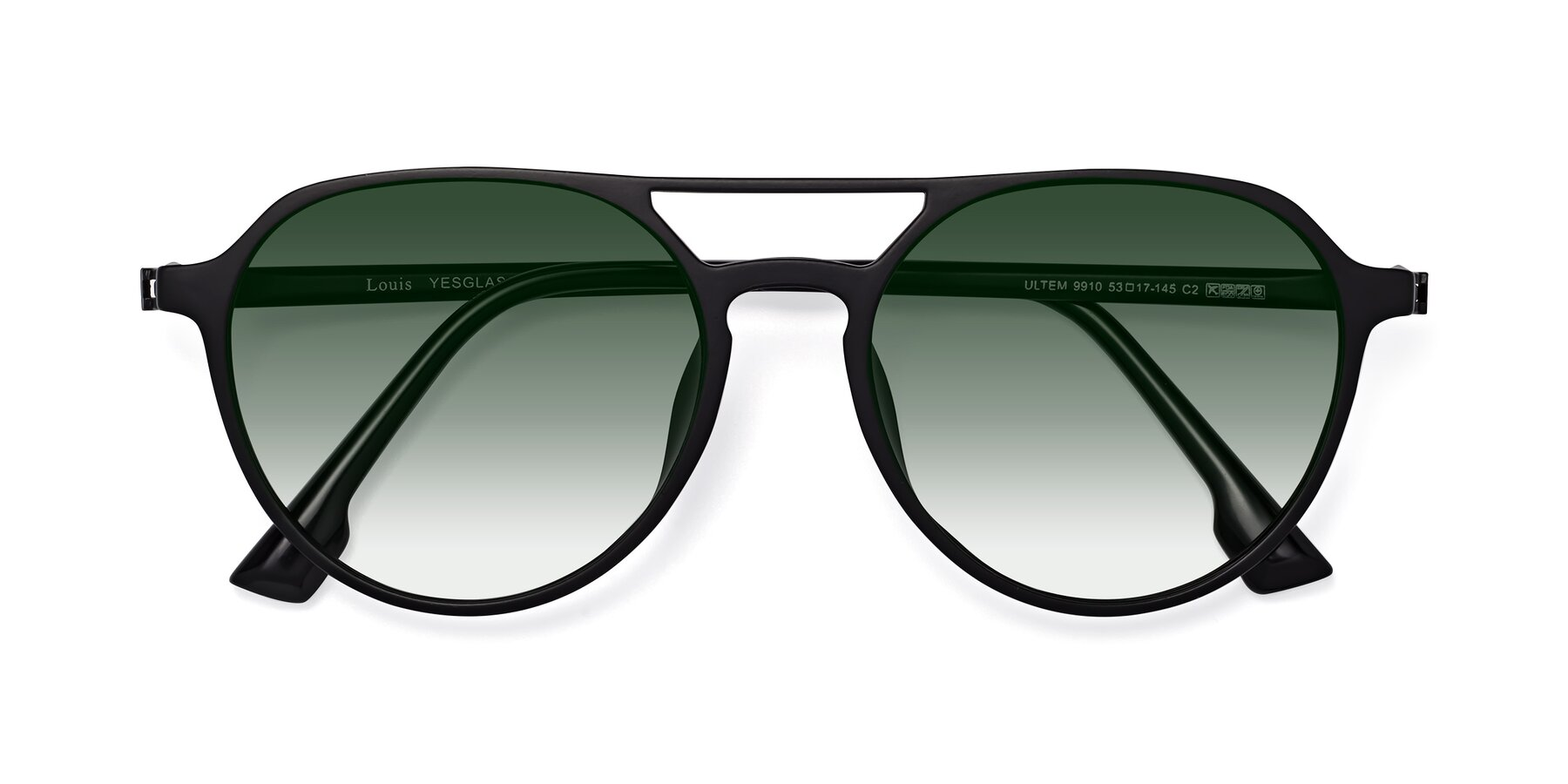 Folded Front of Louis in Matte Black with Green Gradient Lenses