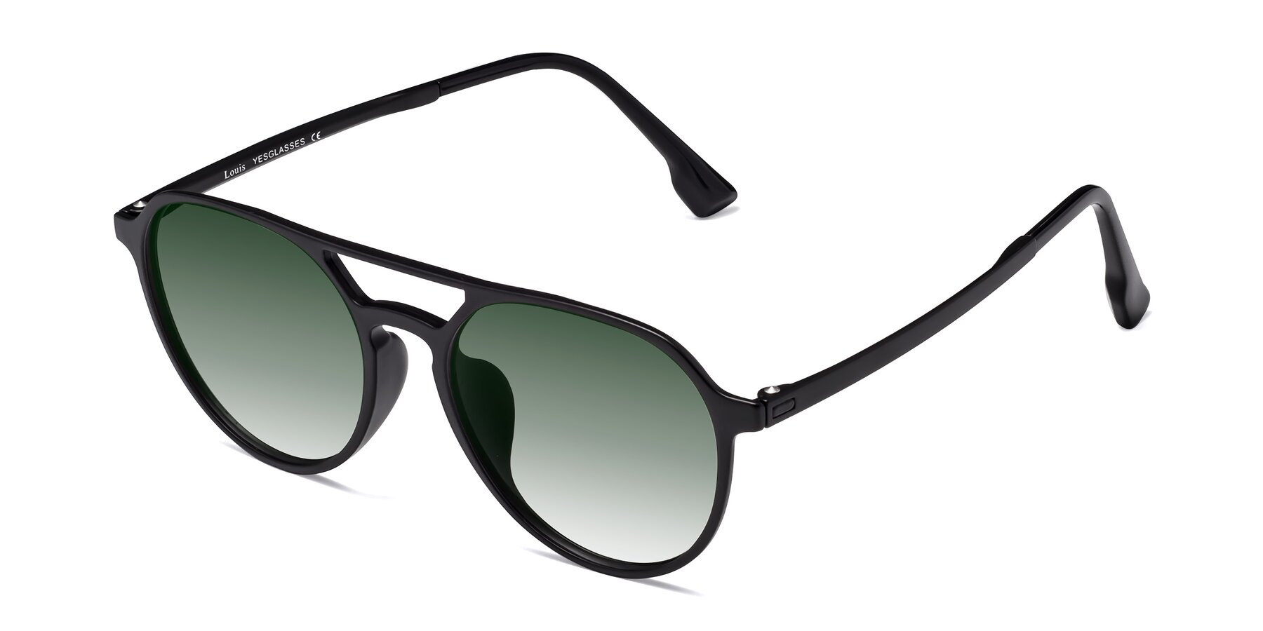 Angle of Louis in Matte Black with Green Gradient Lenses