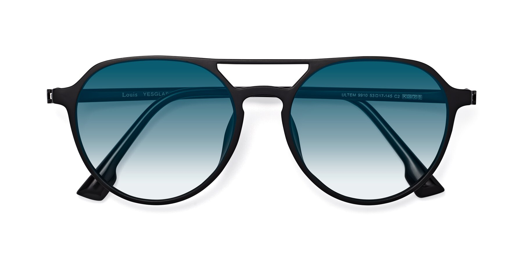 Folded Front of Louis in Matte Black with Blue Gradient Lenses
