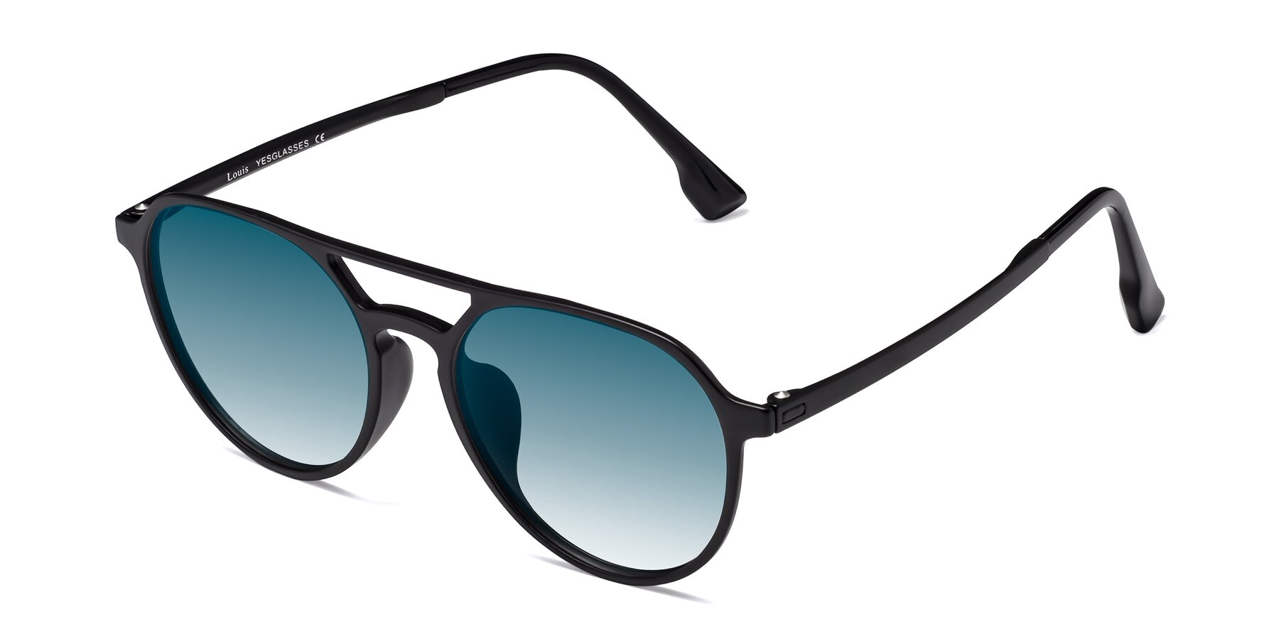 Angle of Louis in Matte Black with Blue Gradient Lenses