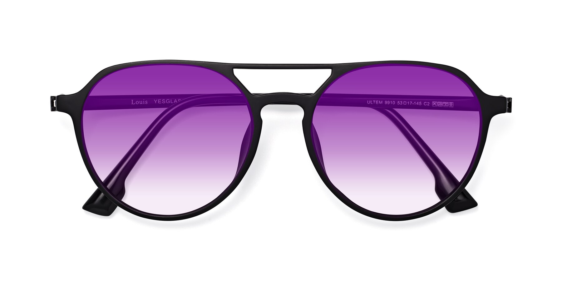 Folded Front of Louis in Matte Black with Purple Gradient Lenses