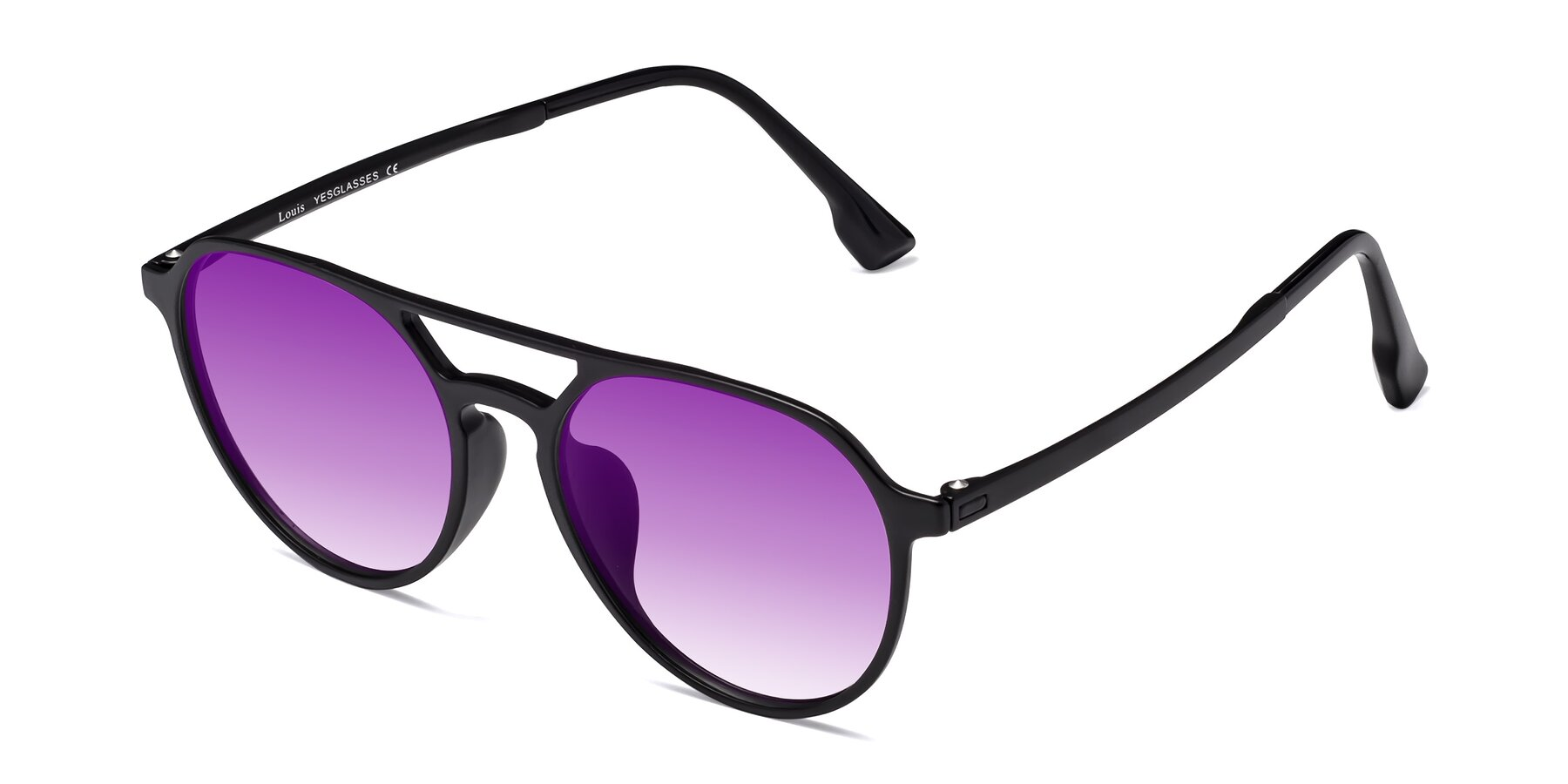 Angle of Louis in Matte Black with Purple Gradient Lenses