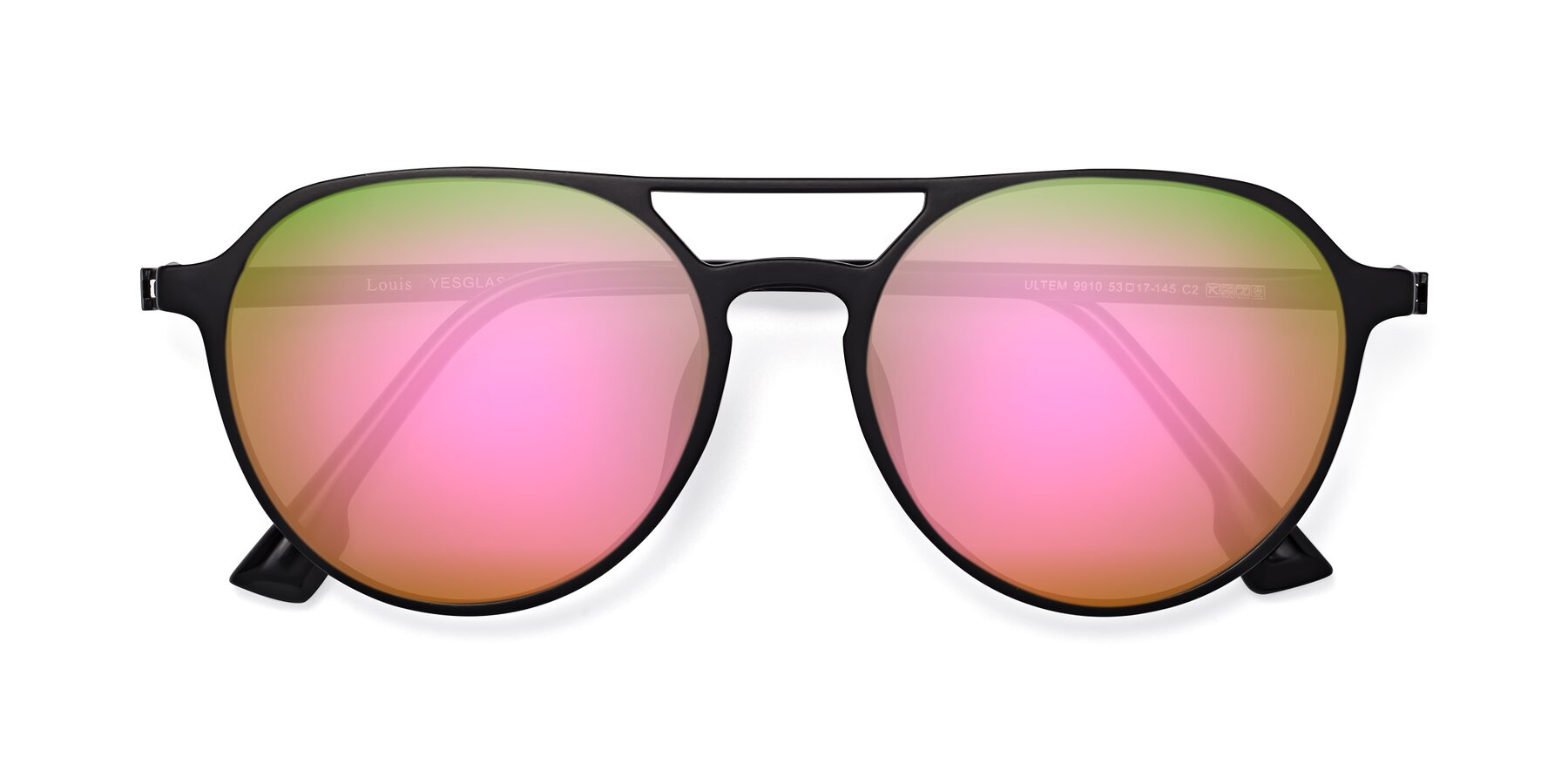 Folded Front of Louis in Matte Black with Pink Mirrored Lenses