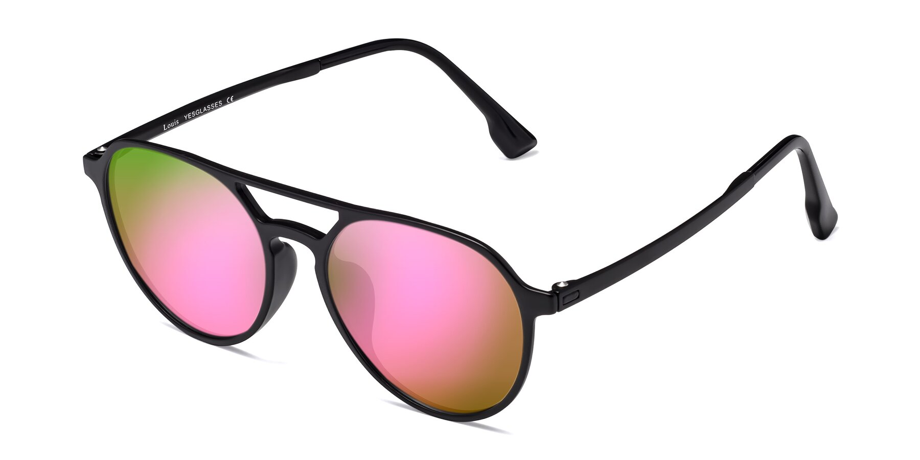 Angle of Louis in Matte Black with Pink Mirrored Lenses