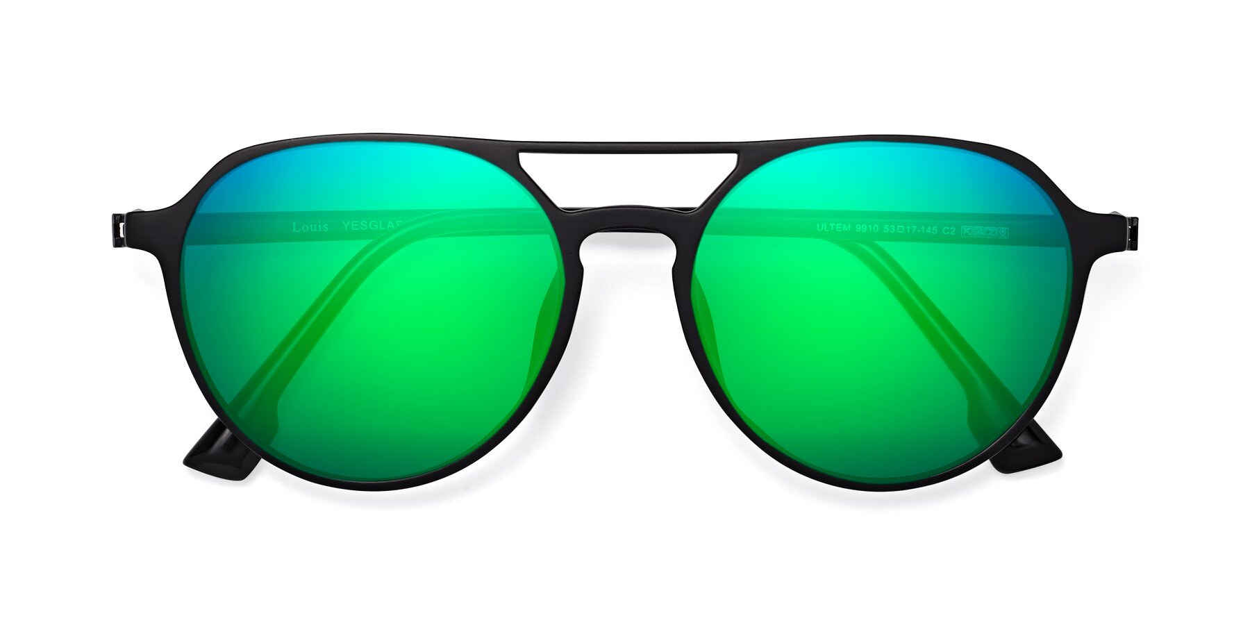 Folded Front of Louis in Matte Black with Green Mirrored Lenses