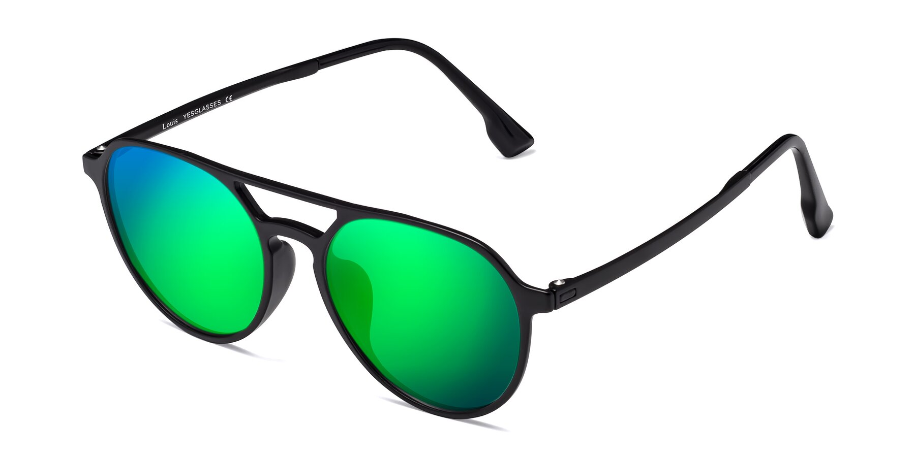 Angle of Louis in Matte Black with Green Mirrored Lenses