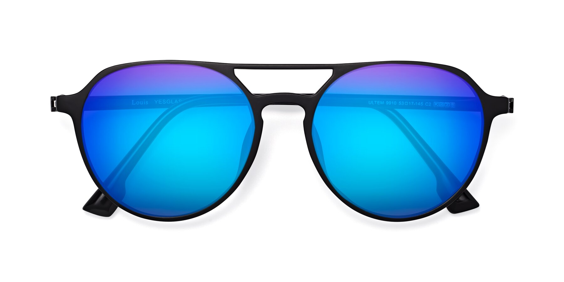 Folded Front of Louis in Matte Black with Blue Mirrored Lenses