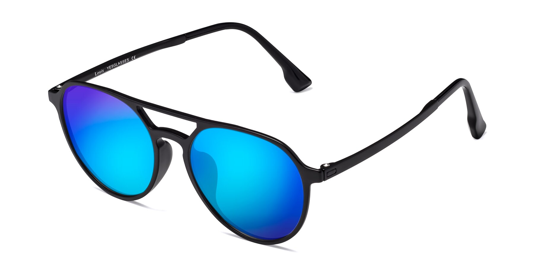 Angle of Louis in Matte Black with Blue Mirrored Lenses