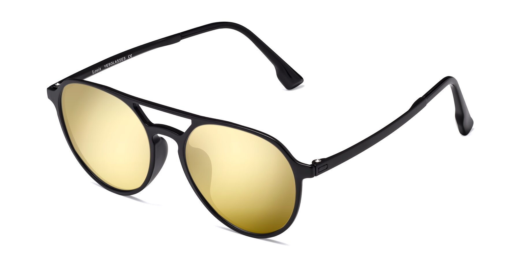 Angle of Louis in Matte Black with Gold Mirrored Lenses