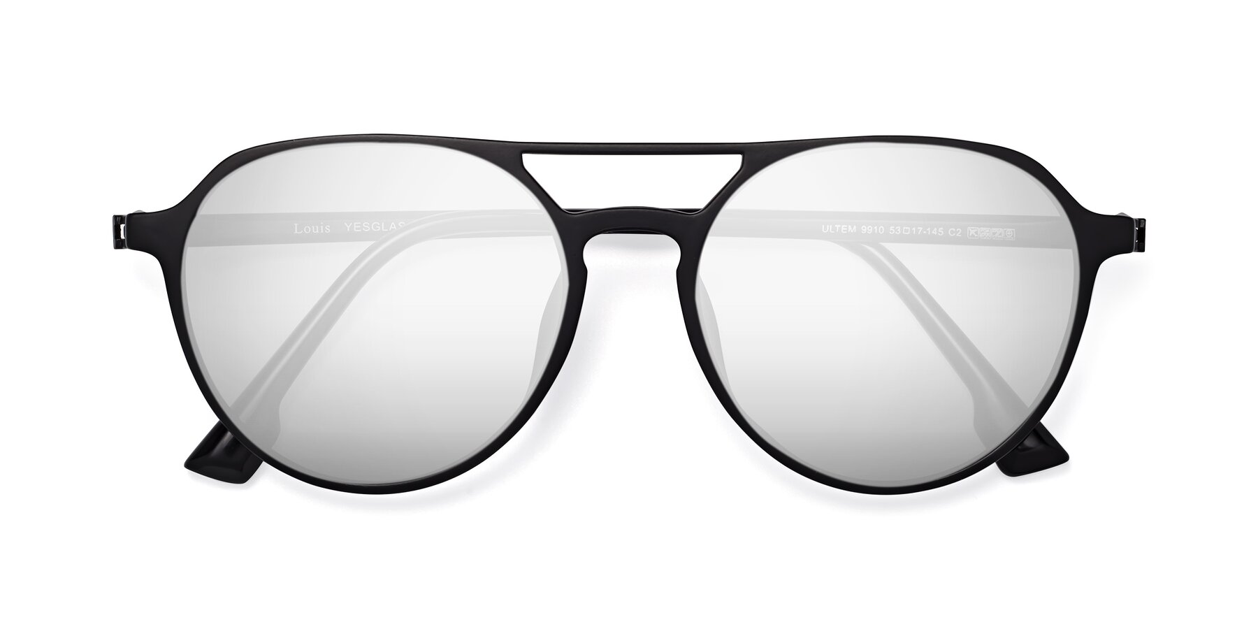 Folded Front of Louis in Matte Black with Silver Mirrored Lenses