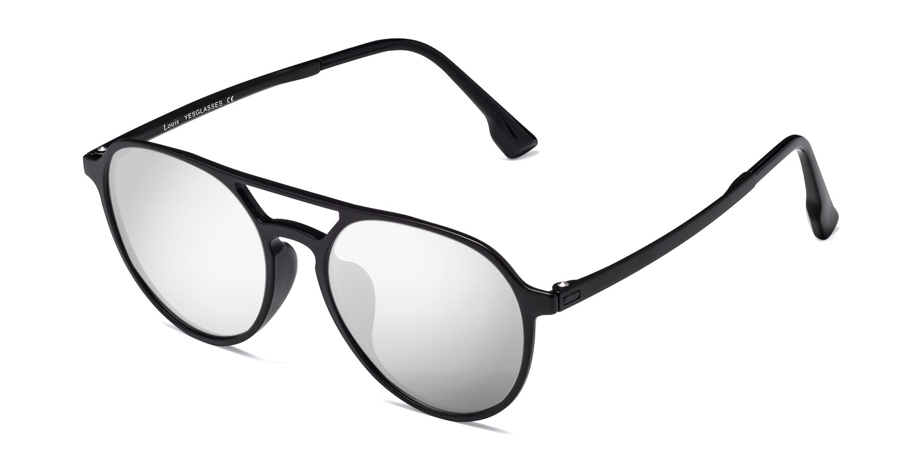 Angle of Louis in Matte Black with Silver Mirrored Lenses