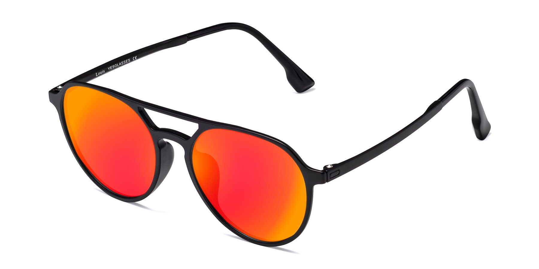 Angle of Louis in Matte Black with Red Gold Mirrored Lenses