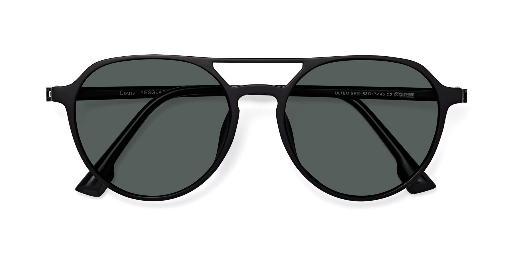 Folded Front of Louis in Matte Black with Gray Polarized Lenses