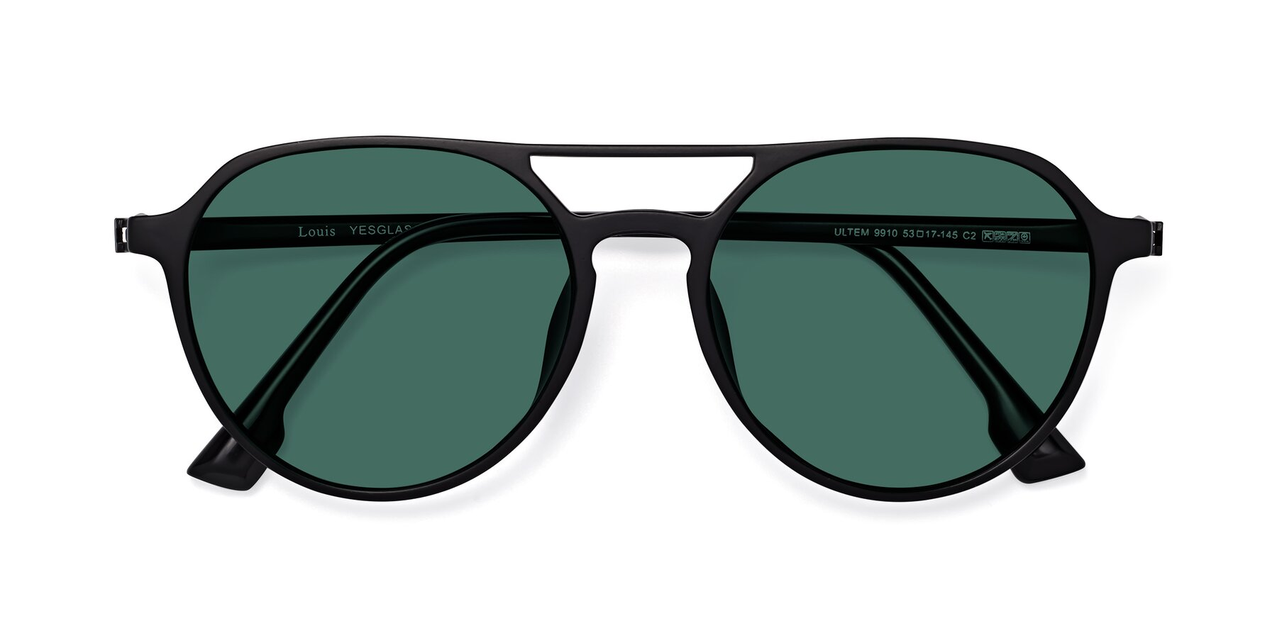 Folded Front of Louis in Matte Black with Green Polarized Lenses