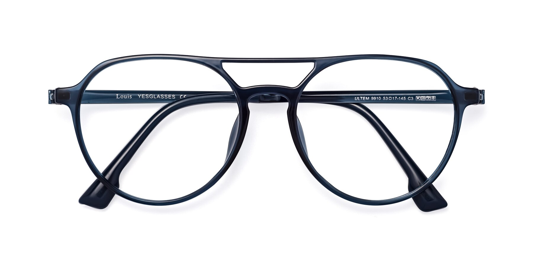 Folded Front of Louis in Blue with Clear Eyeglass Lenses
