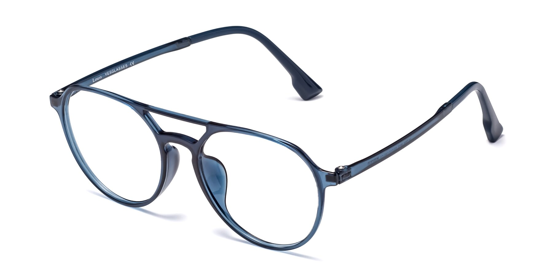 Angle of Louis in Blue with Clear Eyeglass Lenses