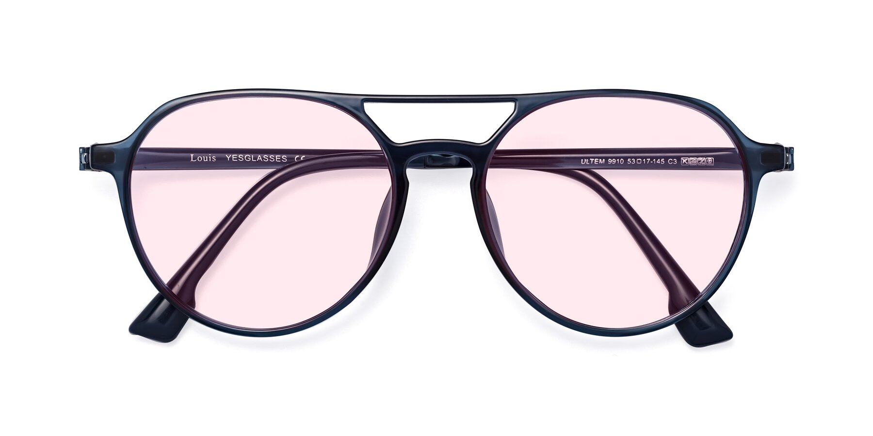 Folded Front of Louis in Blue with Light Pink Tinted Lenses