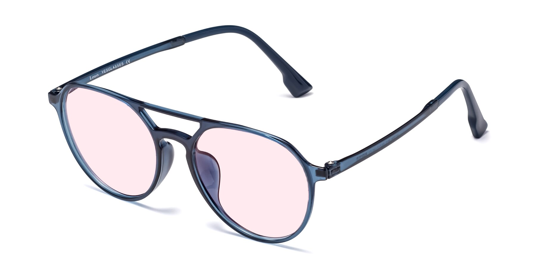 Angle of Louis in Blue with Light Pink Tinted Lenses