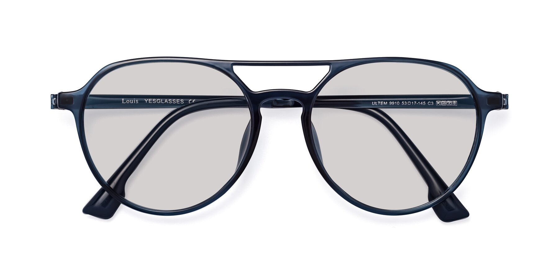 Folded Front of Louis in Blue with Light Gray Tinted Lenses