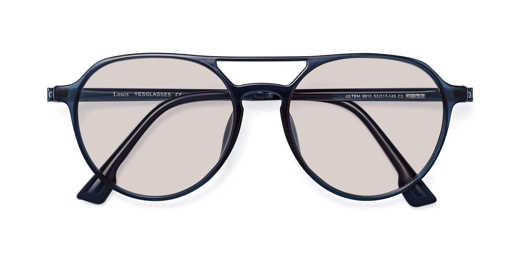 Folded Front of Louis in Blue with Light Brown Tinted Lenses