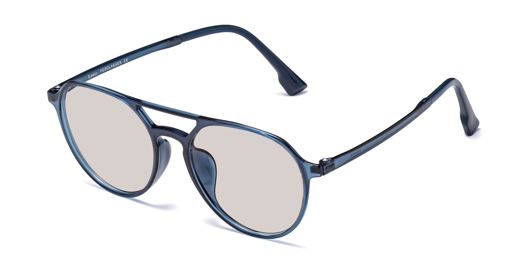 Angle of Louis in Blue with Light Brown Tinted Lenses