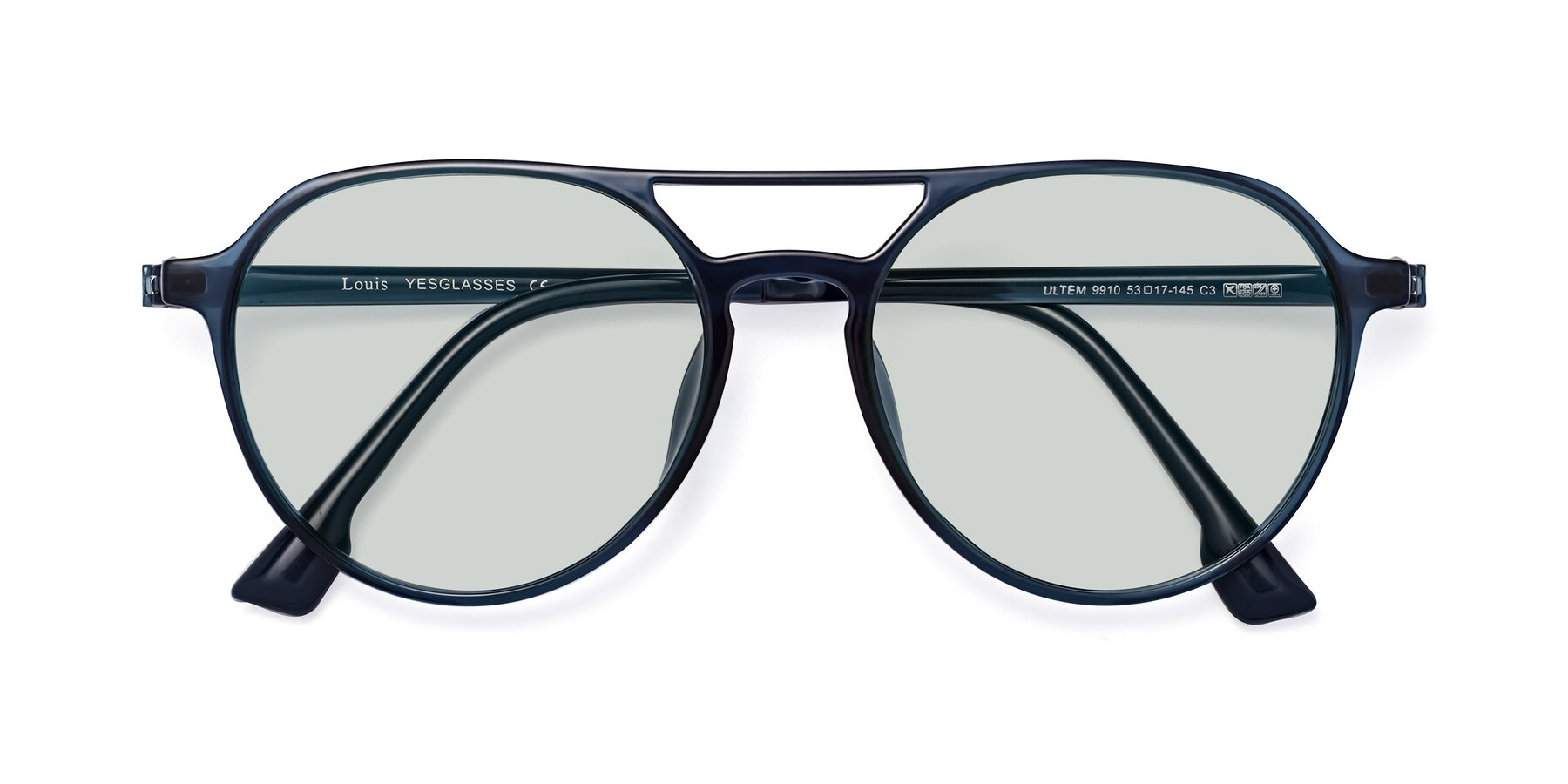 Folded Front of Louis in Blue with Light Green Tinted Lenses
