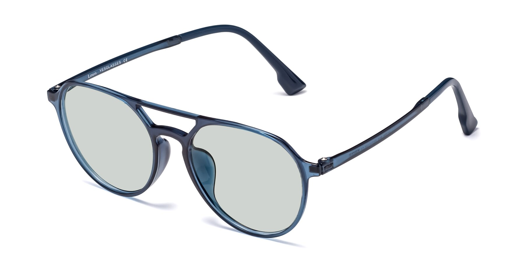 Angle of Louis in Blue with Light Green Tinted Lenses