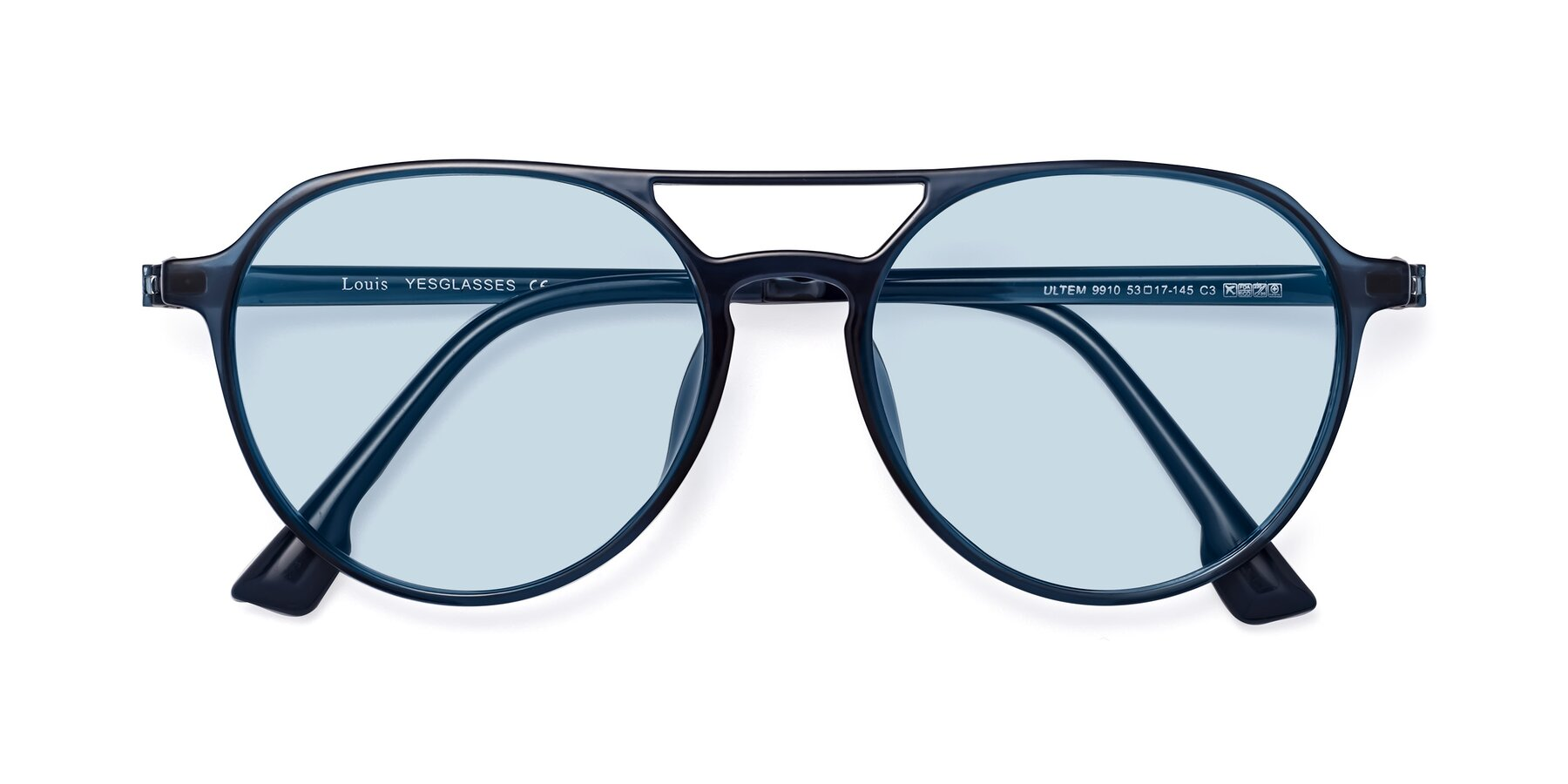 Folded Front of Louis in Blue with Light Blue Tinted Lenses