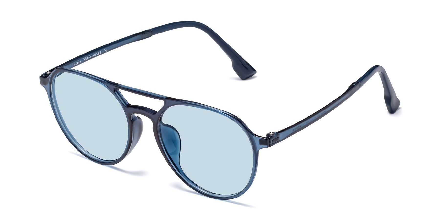 Angle of Louis in Blue with Light Blue Tinted Lenses