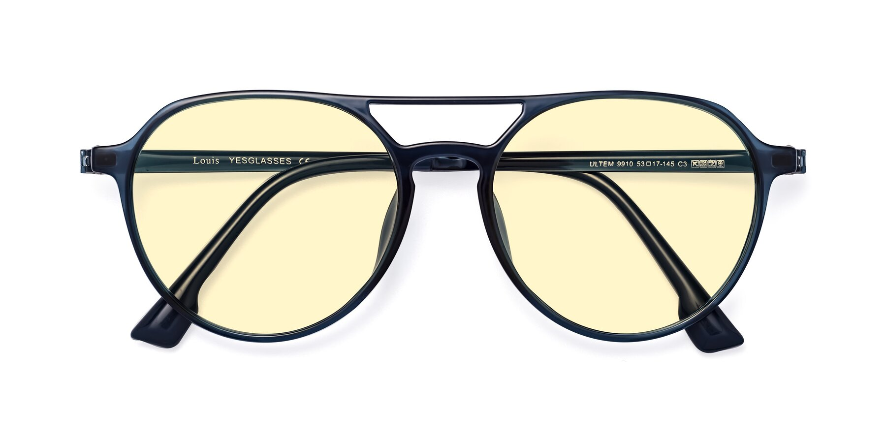 Folded Front of Louis in Blue with Light Yellow Tinted Lenses