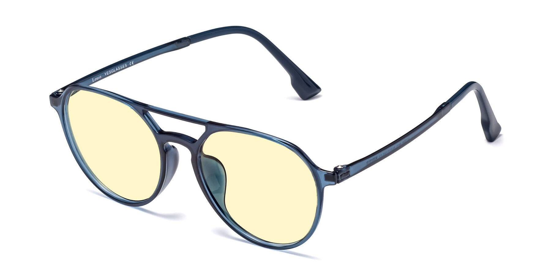 Angle of Louis in Blue with Light Yellow Tinted Lenses