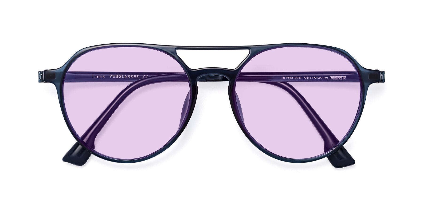 Folded Front of Louis in Blue with Light Purple Tinted Lenses