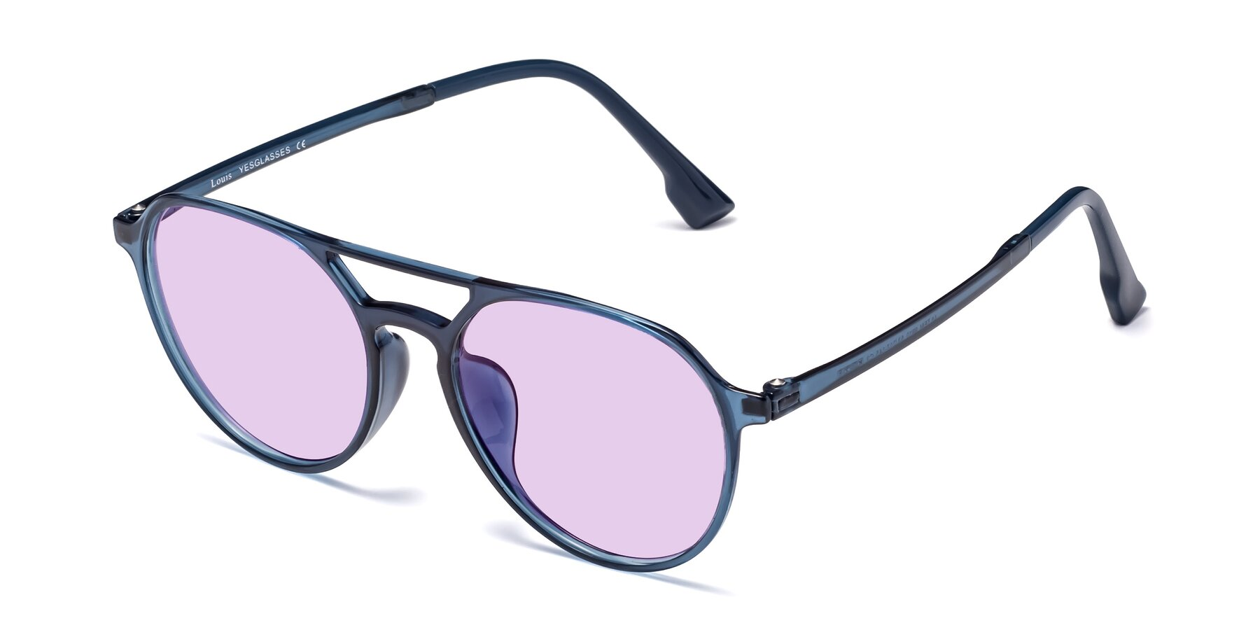 Angle of Louis in Blue with Light Purple Tinted Lenses