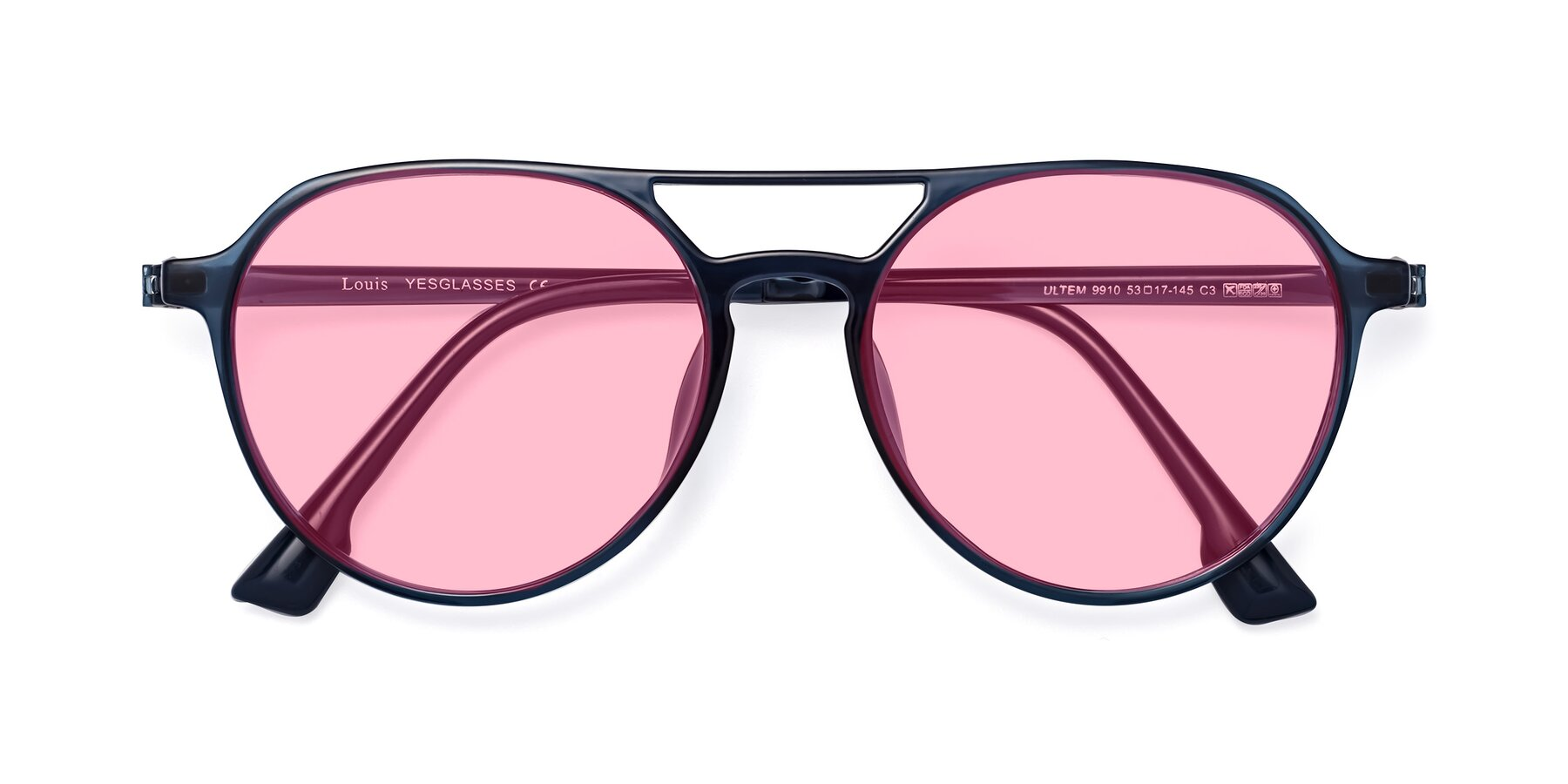 Folded Front of Louis in Blue with Medium Pink Tinted Lenses