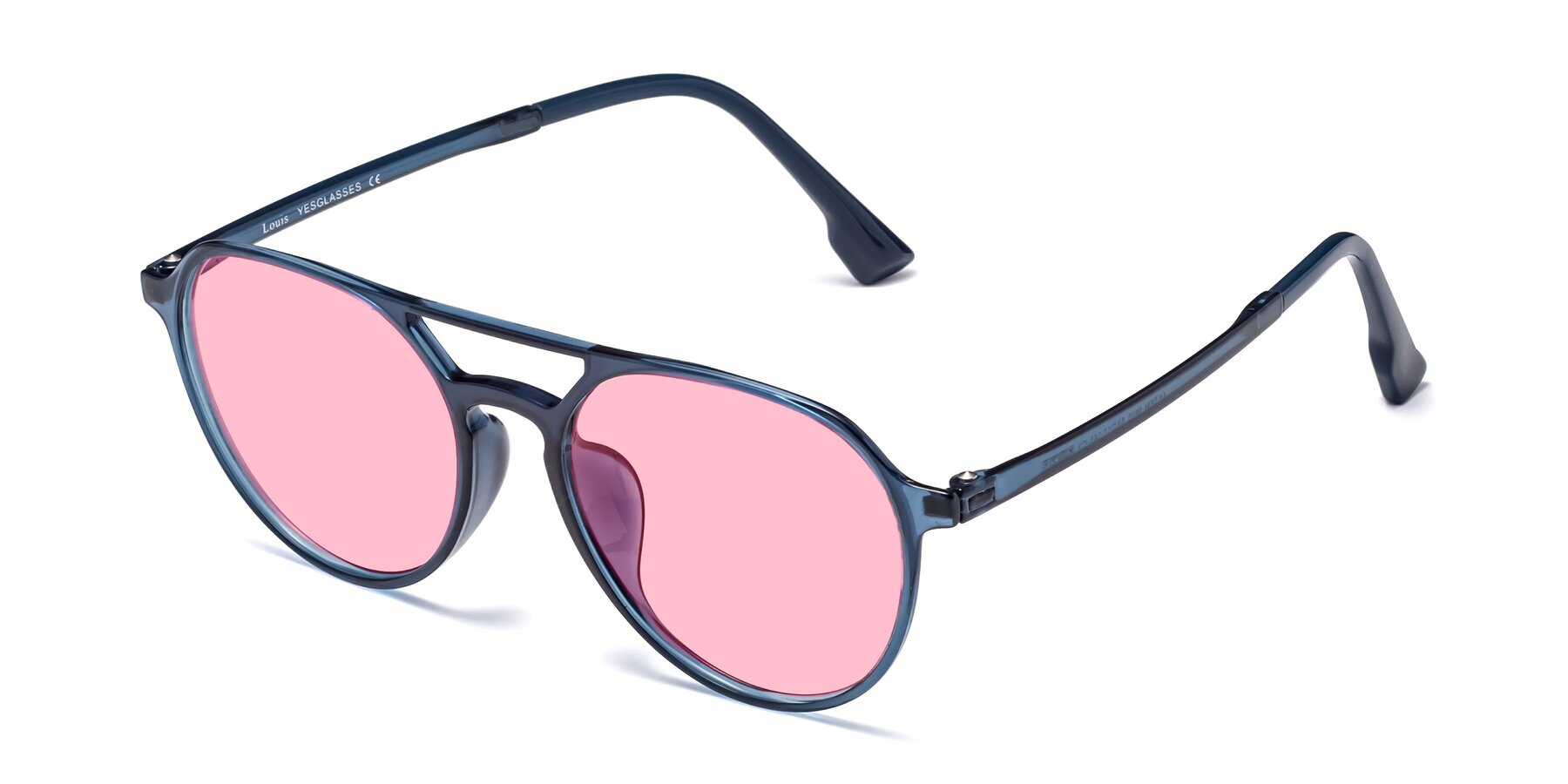 Angle of Louis in Blue with Medium Pink Tinted Lenses
