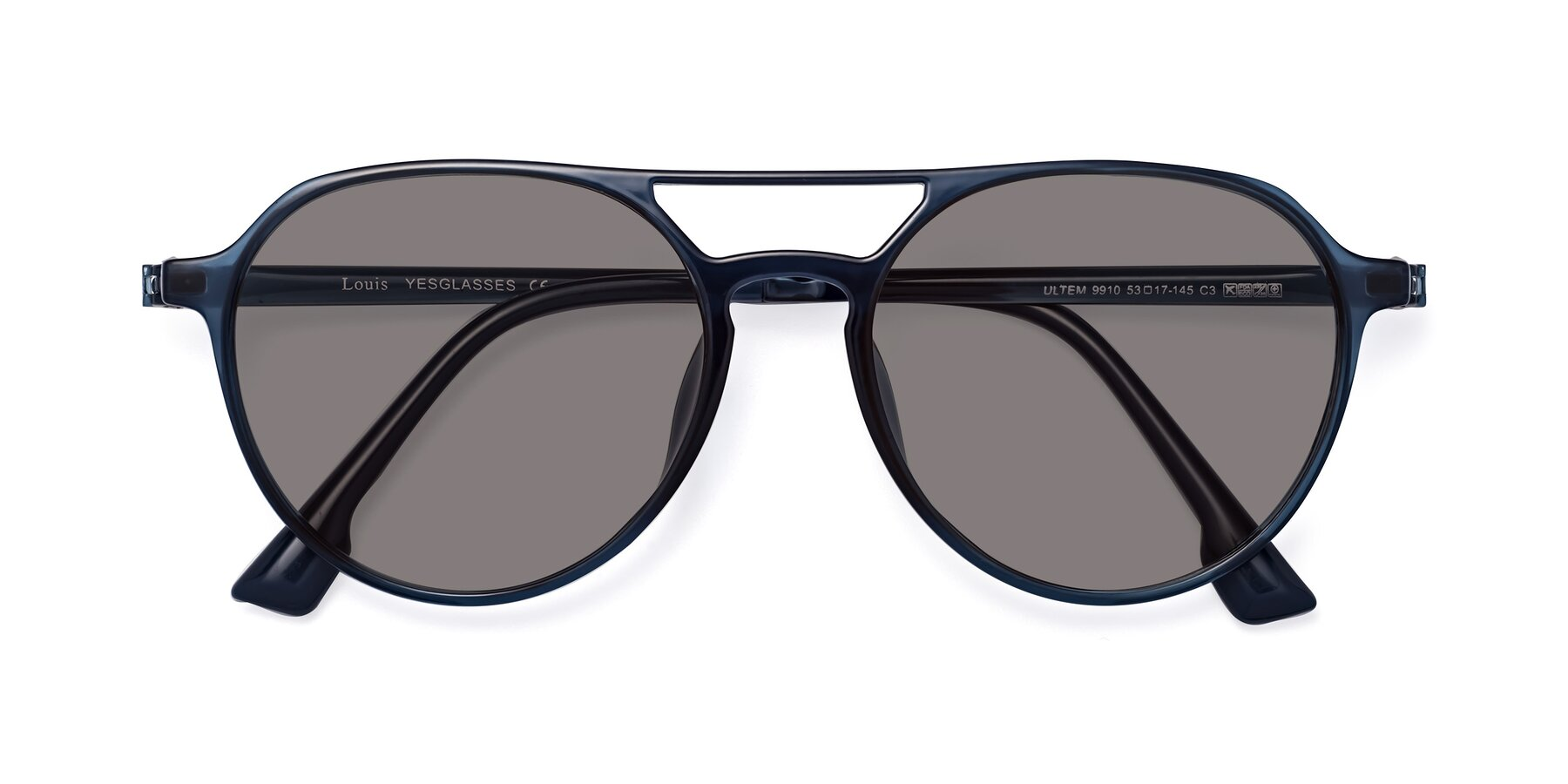 Folded Front of Louis in Blue with Medium Gray Tinted Lenses