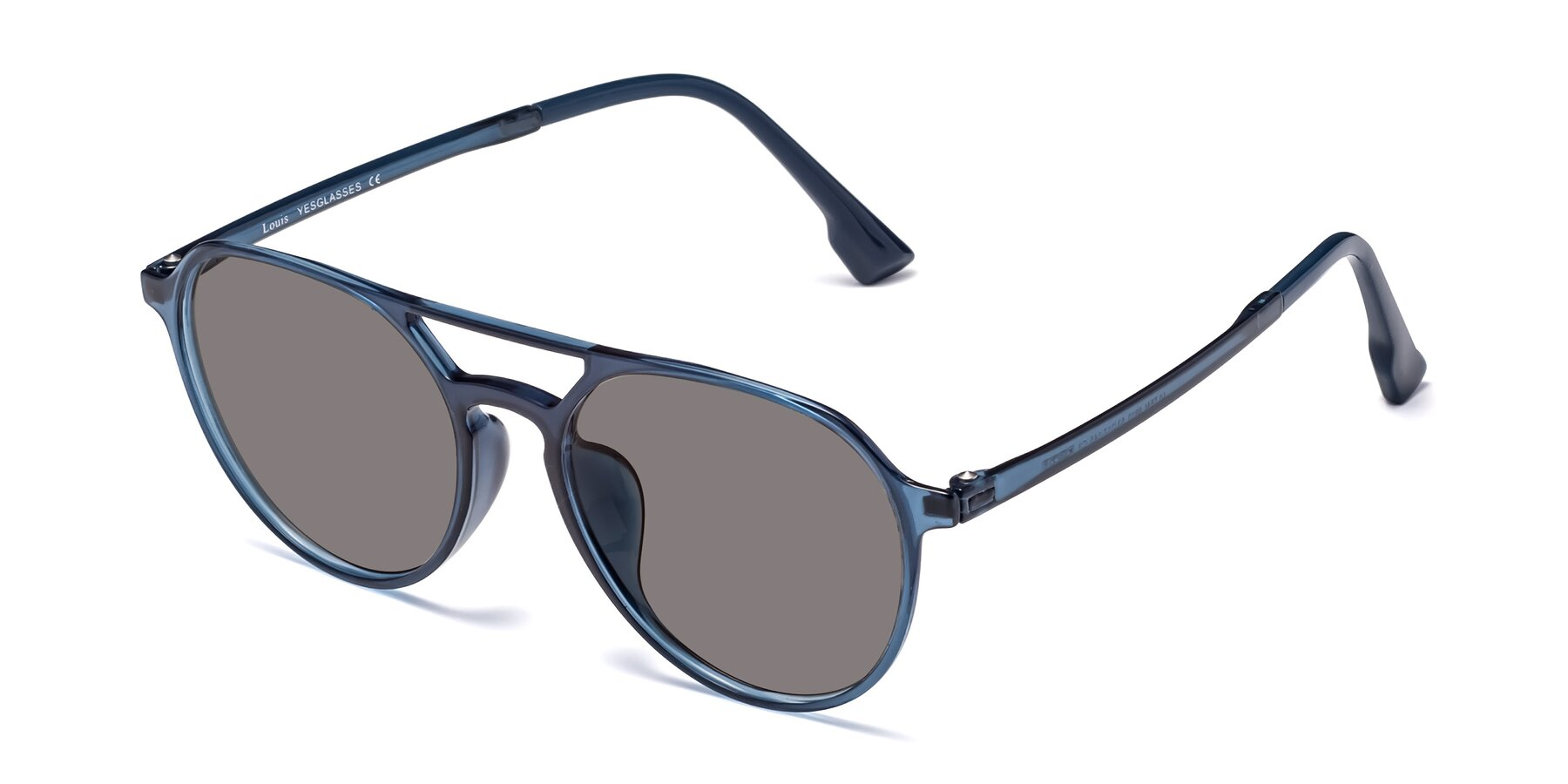 Angle of Louis in Blue with Medium Gray Tinted Lenses