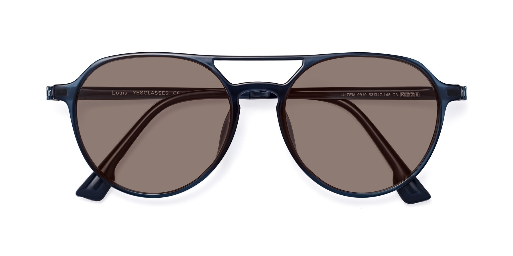 Folded Front of Louis in Blue with Medium Brown Tinted Lenses