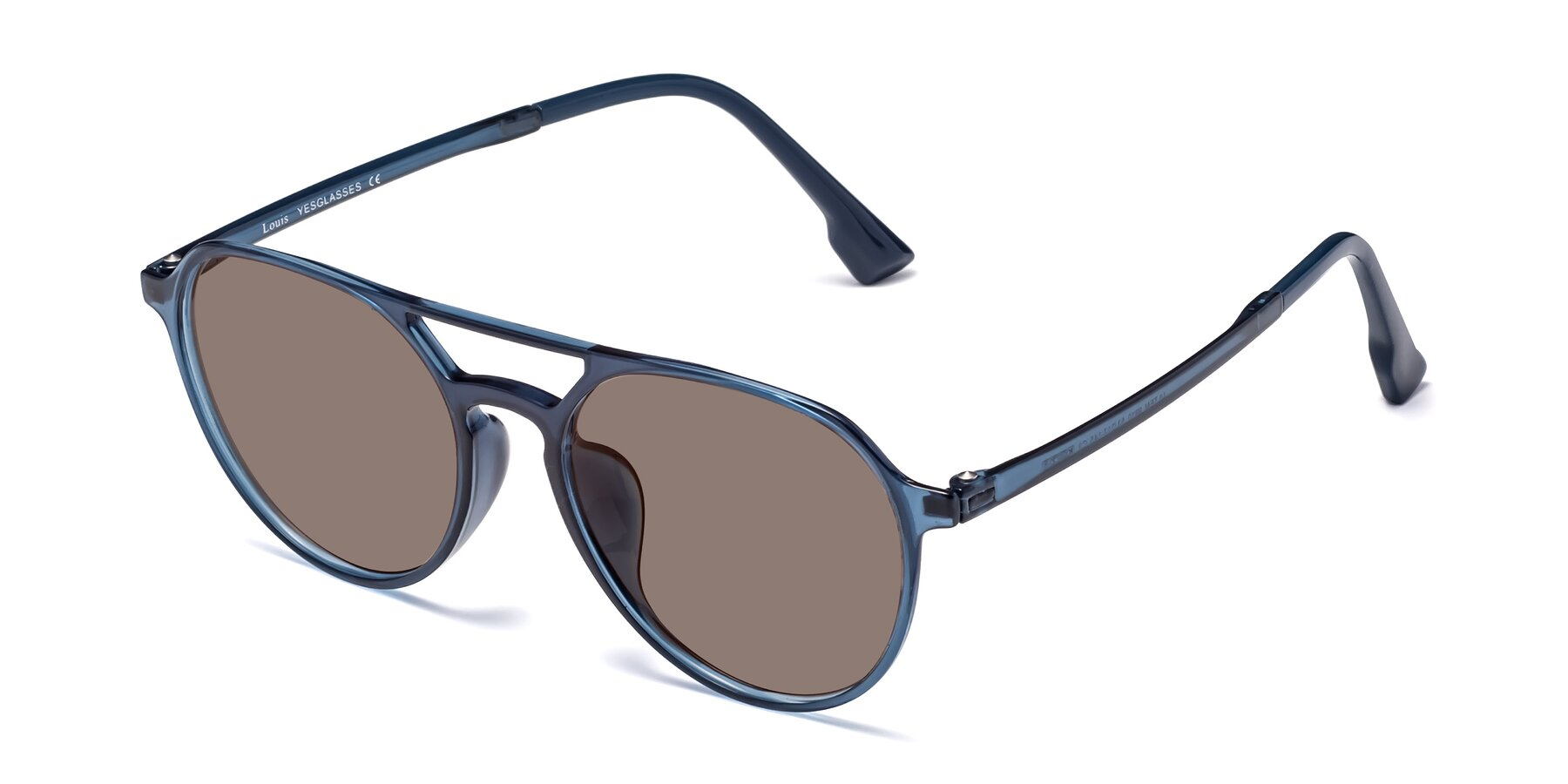 Angle of Louis in Blue with Medium Brown Tinted Lenses
