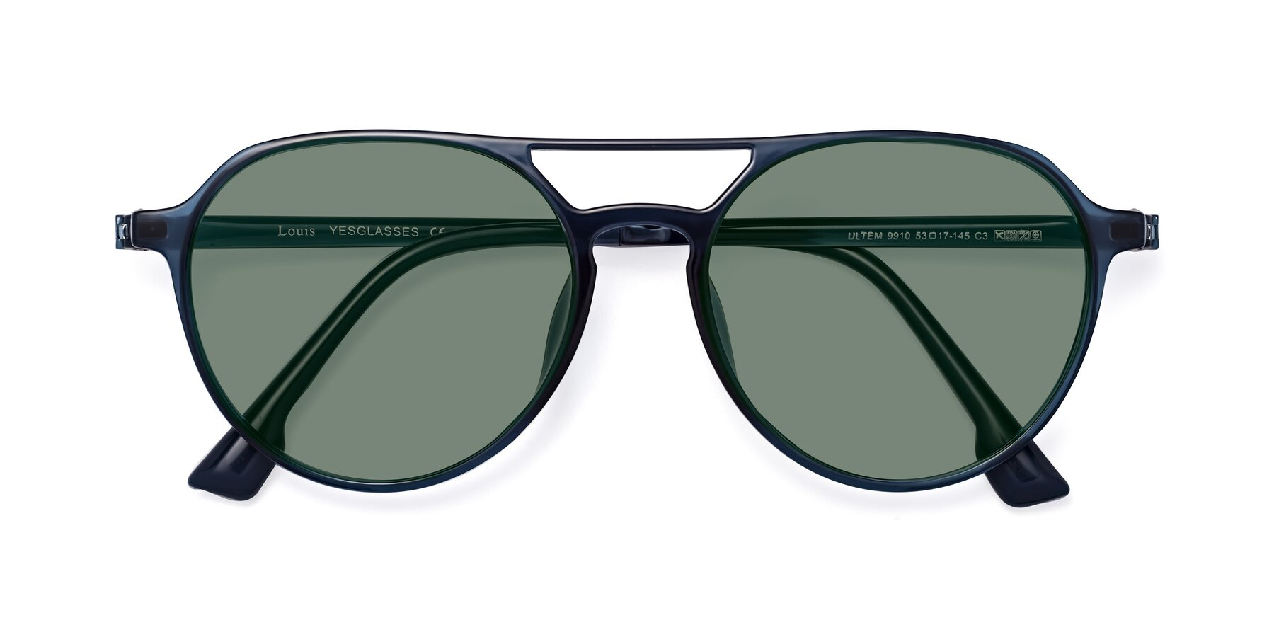 Folded Front of Louis in Blue with Medium Green Tinted Lenses
